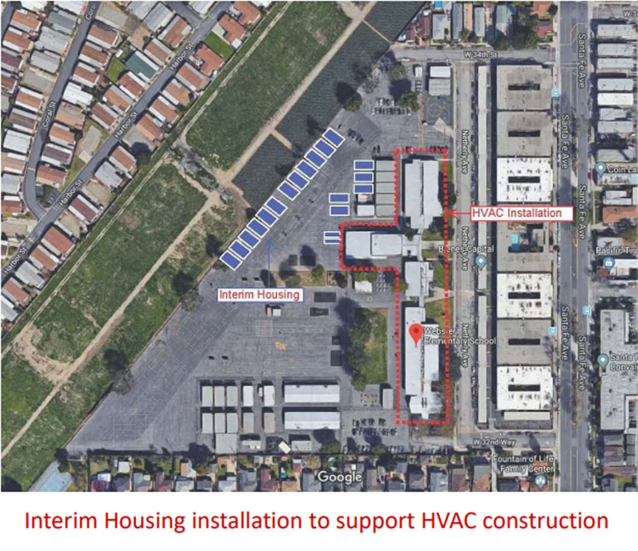 Webster HVAC project aerial view